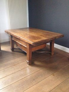 fruit wooden coffee table with two large drawers, recently created from old parts