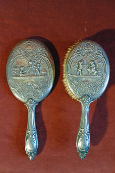 Silver hair styling set - mirror and brush - ca 1890 - Germany