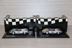 Minichamps - Scale 1/43 - lot with 2 models: 1 x Porsche 718 RS 1960 #43 & 1 x Porsche 718 RS 1961 #136