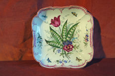 KPM Berlin - Square bowl with flower and insect painting