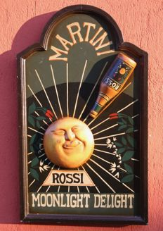 MARTINI & ROSSI Advertising plate from the 1960s - wood art merchandising