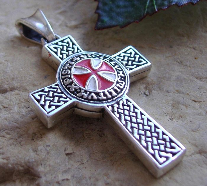 Sterling silver 925 double sided knights templar cross pendant medal sterling silver 925 double sided knights templar cross pendant medal aloadofball Image collections