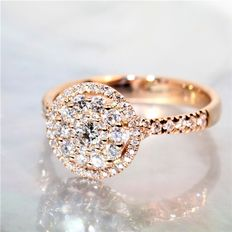 Rose gold ring (18 kt) with G/VS diamonds - 0.70 ct