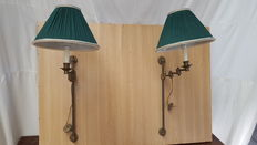 Two decorative library lamps with green pleated Lampshade-bronze and brass - ca. 1950, Italy