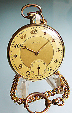 Ancre men's pocket watch from 1930 + gold coloured link chain