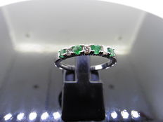 18k Gold Emerald and Diamond (0.15 ct) Eternity Ring - size 53