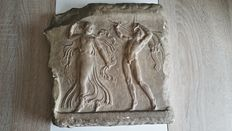 Gypsum relief Maenad and Satyr - Hellenistic, 2rd - 2nd century before Christ