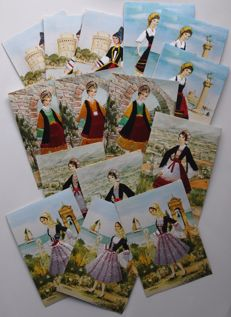 Greece - Lot of 60 hand-embroidered postcards from '60s - National costumes