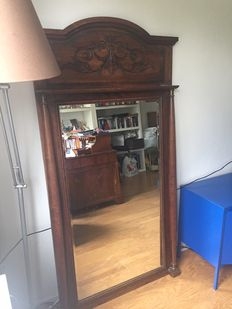 Large oak mantelpiece mirror, first half of the 20th century