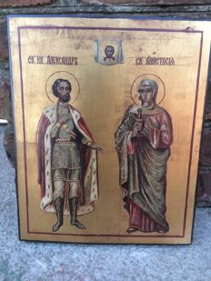 20th century ortodox russian icon of Saint Anastasia and Saint Prince Alexander hand painted