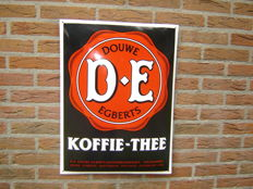 Wonderful large super cool enamel sign for Douwe Egberts coffee and tea - 1990s.