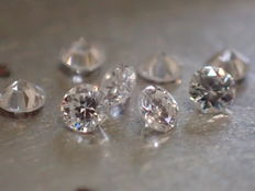 Lot of 8 brilliant-cut diamonds of 1.70 mm, 0.16 ct in total, D/IF, top quality.