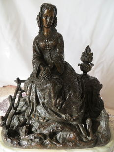 After Albert-Ernest Carrier-Belleuse - bronze sculpture of a seated young lady - France - early 20th century