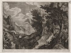 Paulus Bril (1554-1626) - Wooded ravine with distant harbor view - Rare engraving by  Aegidius Sadeler around 1600