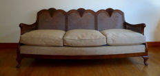 Sofa and two armchairs in caned walnut of the brand Maple