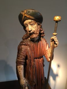 Polychrome walnut sculpture of St. Rochus - France - Early 17th century.