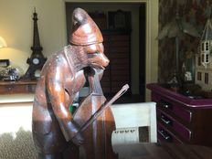 Black Forest carving - rare musician bear in wood - end of the 19th century