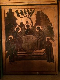 20th century ortodox russian icon of  Holy Trinity with forthcoming hand painted