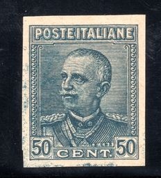 "Italy 1928 - Variety of 50 cent. slate gray instead of lilac ""Giubileo"" machine proof - Unif# 225Ba"