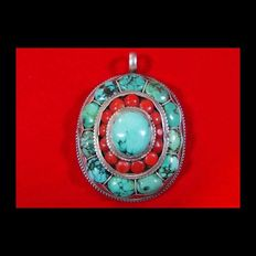 Silver pendant set with turquoise and coral stones - silver 925, length 55 cm