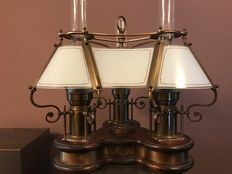 Ship's lamp. Wood with brass and milk glass chalices, from ca. 1950