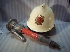 Dutch fire helmet with water hose