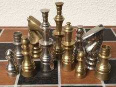 Gold and silver-coloured chess set