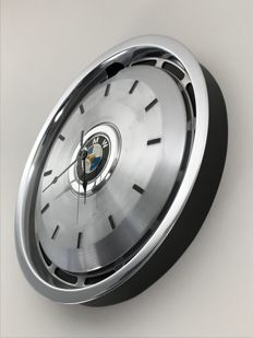 BMW - Black wall clock on a hubcap from the 80's