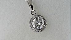 1.01 ct round diamond pendant in 14 kt white gold - 42cm