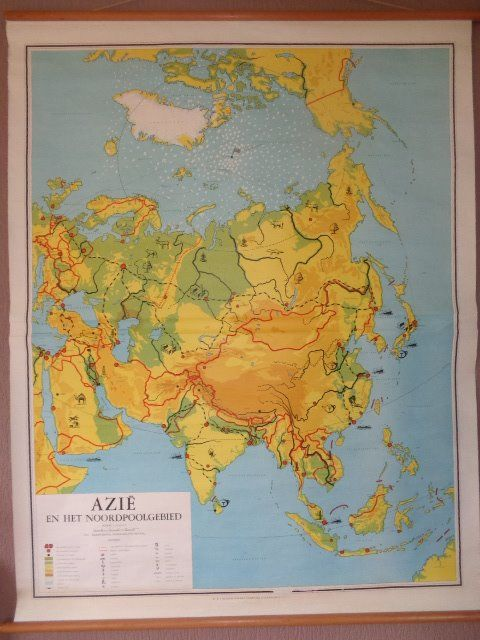 Beautiful old school poster / school map of Asia and the ...