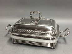 Impressive antique silver plated serving tray on matching hot plate, England, ca. 1870