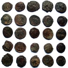 Military Anarchy of the Gallic Empire - Roman Empire - Lot of 25 barbarics antoniniani, Tetricus and various emperos 270-280 AD