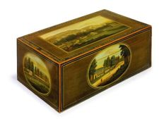 A polychrome painted satinwood sewing box - with scenes of the city of Spa - Belgium - first half of the 19th century