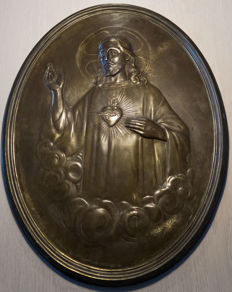 Bronze shield of Jesus - artist Mr. Bernard - France - ca. 1900