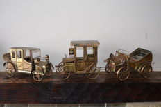 Lot of 3 retro handmade metal cars with music