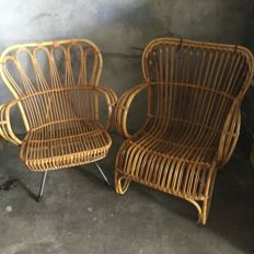 Two rattan relaxing armchairs, 20th century, Dutch