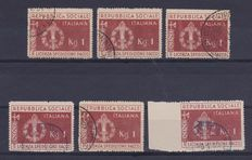 Italy – 1944 – Repubblica Sociale Italiana (Italian Social Republic) – military exemption for parcels plus set of stamps from same era.