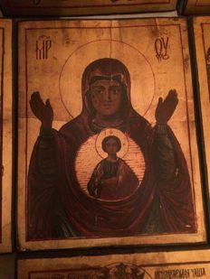 20th century ortodox russian icon of Mother of God Sign hand painted