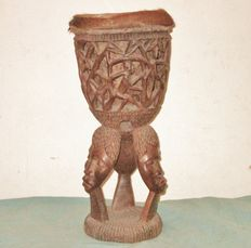 Drum from Africa with beautiful wood carving