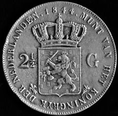 The Netherlands - 2 1/2 guilder Willem II 1844 - silver