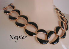 Signed NAPIER - Black Enamel gold plate Necklace - 1988