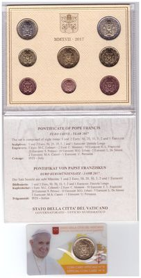 Vatican – Annual set 2017 Pontificate of Pope Francis + Coincard  2017 of 50 Cents