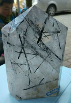 Beautiful large Tourmaline quartz point - 180 x 110 x 55 mm - 2.05 kg