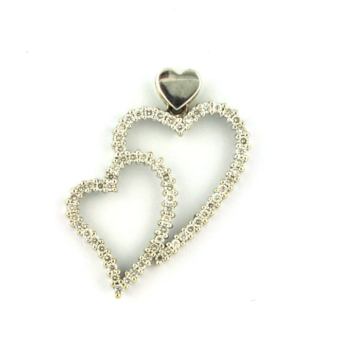 Twin Hearts Pendant with 62 Diamonds (1.00ct) & White 18Karat Gold  (3cm x 2.5cm)
