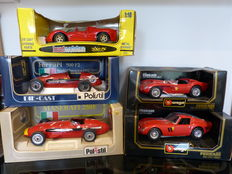 Bburago / Polistil / Jouet - Scale 1/18 - Lot with 5 models: 1 x Maserati & 4 x Ferrari
