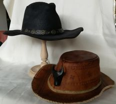 Two western hats - Leather, from the end of last century, made in U.S.A.