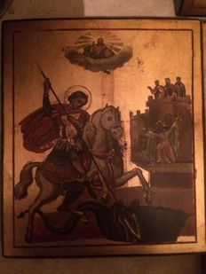 20th century ortodox russian icon of Saint Georges the Victorious hand painted