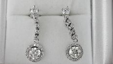 2.04 ct round diamond earrings 14 kt white gold