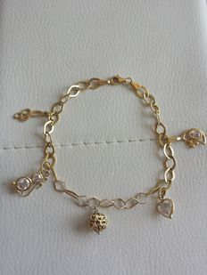 18 kt Gold Bracelet Made in Italy, of Unique Manufacture, with 5 Pendants – Length: 22 c
