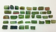 Lot of green, watermelon and indicolite blue with green tourmaline - 80 cts (36)